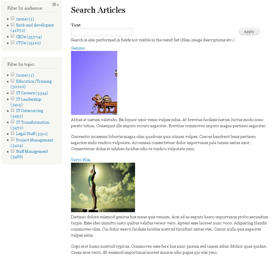 Apache solr drupal faceted search blocks