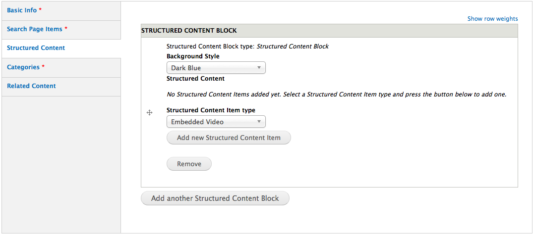 Drupal, adding structured content items