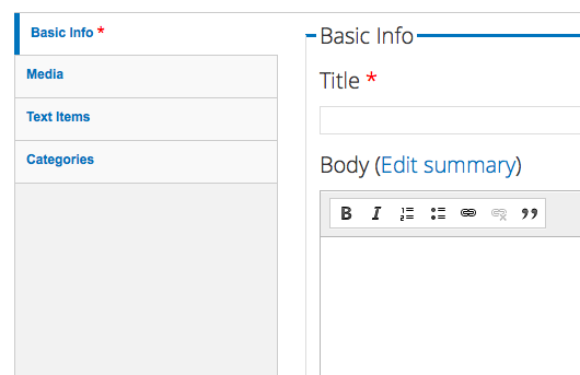 Using Drupal's Simplify module to remove admin tabs from content editors