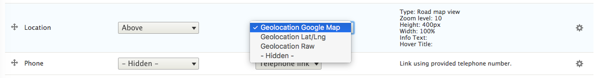 Geolocation field - manage display settings