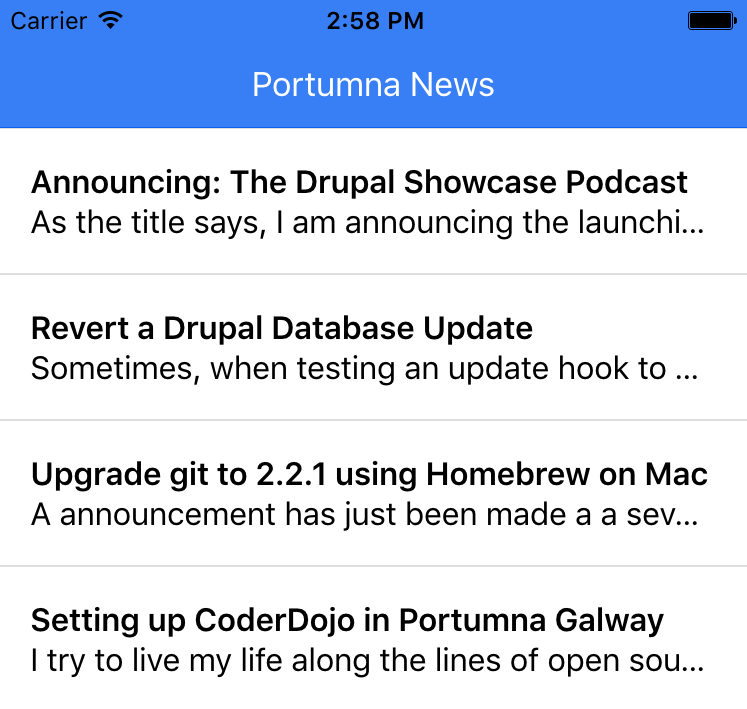 Ionic News Feed via JSON