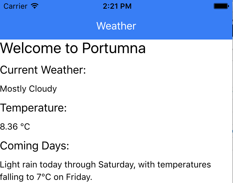 Weather results displayed using Ionic Framework