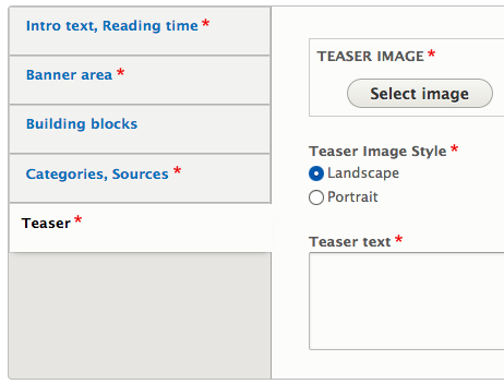 Drupal 8 node edit form teaser section