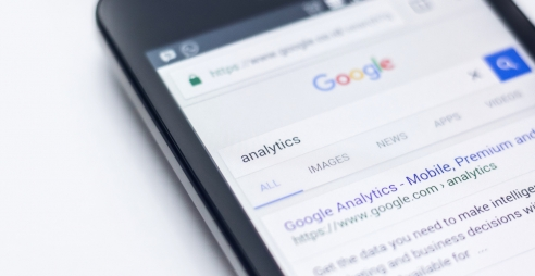 "Screen showing Google search result page for search term ""analytics"""