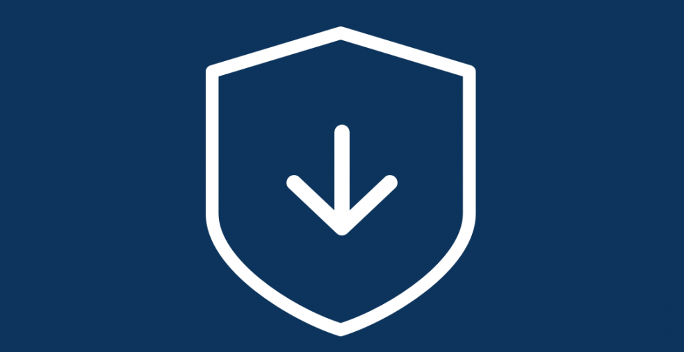Shield with downloading icon | Security updates support services