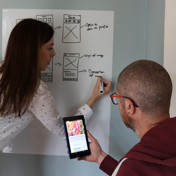 people wireframes on whiteboard | Annertech design services