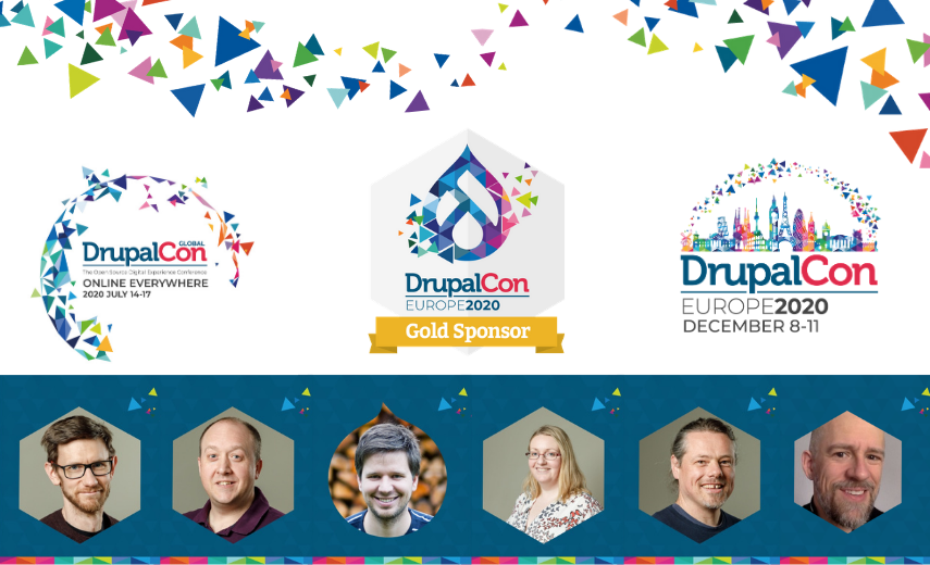 DrupalCon Global and Europe 2020 collage of speakers and sponsor badge